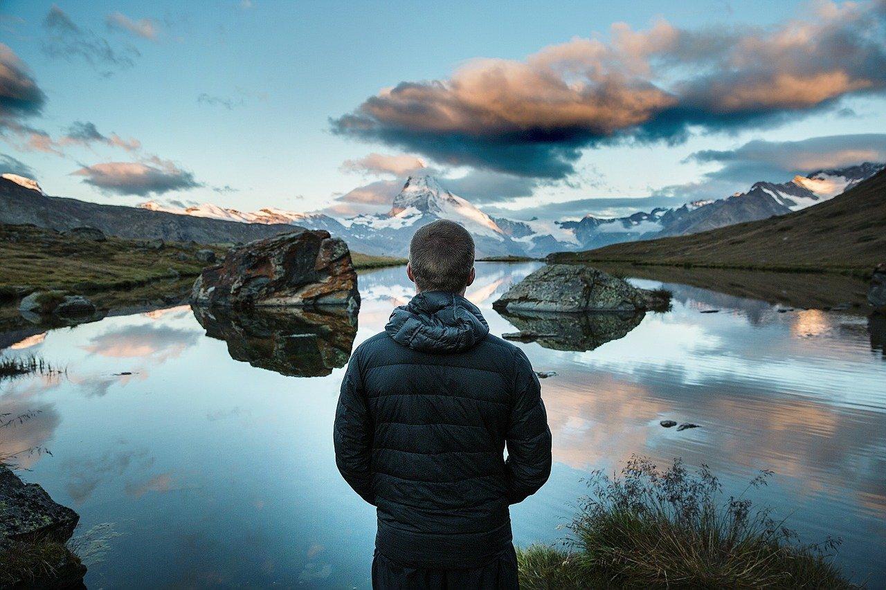 mountain lake, person, looking